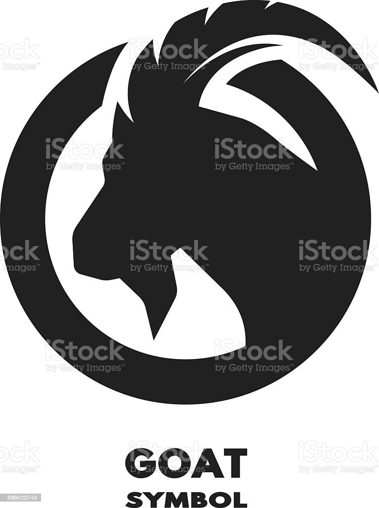 Silhouette of the goat monochrome logo. vector art illustration