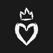 Silhouette of the heart and crown. Drawing a rough brush.