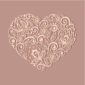 silhouette of the heart symbol decorated with floral pattern
