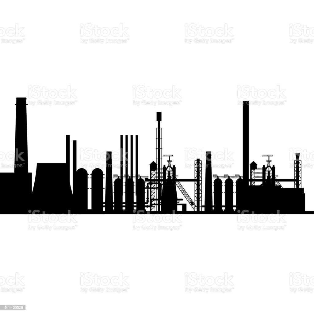 Silhouette of the industrial plant vector art illustration