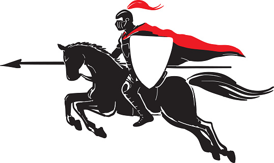 Silhouette of the knight on a horse