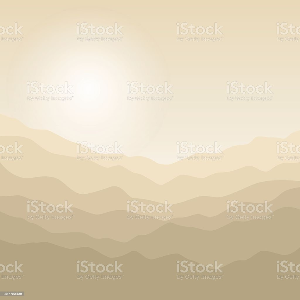 Silhouette of the Mountains  at Sunrise vector art illustration