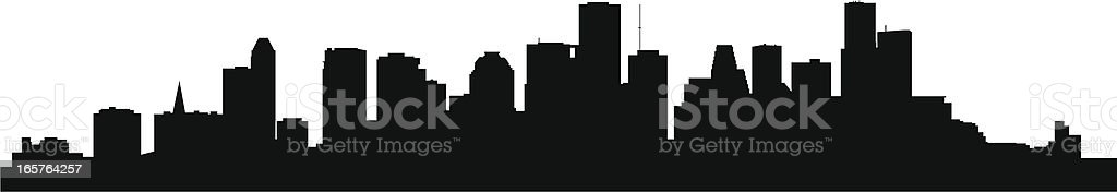 A silhouette of the skyline in Houston, Texas  royalty-free stock vector art