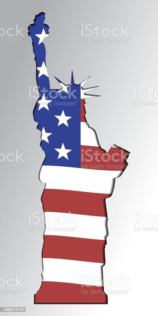 Silhouette Der Statue Of Liberty In Den Farben Der Amerikanischen ...
