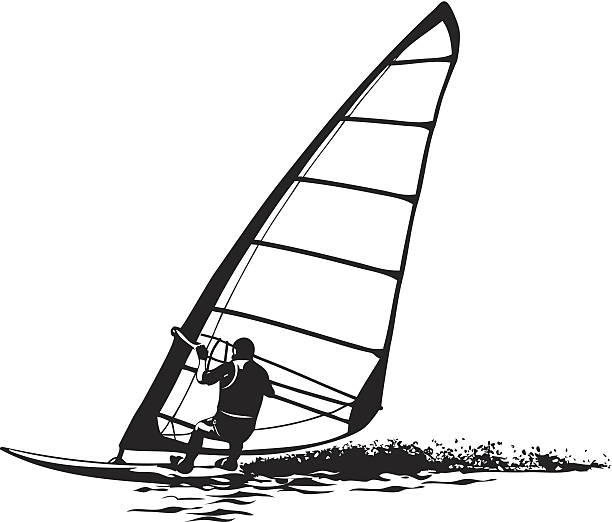 Silhouette Of The Windsurfer Vector Art Illustration