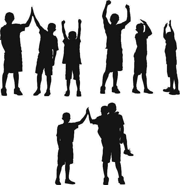silhouette of three boys playing - brother stock illustrations, clip art, cartoons, & icons