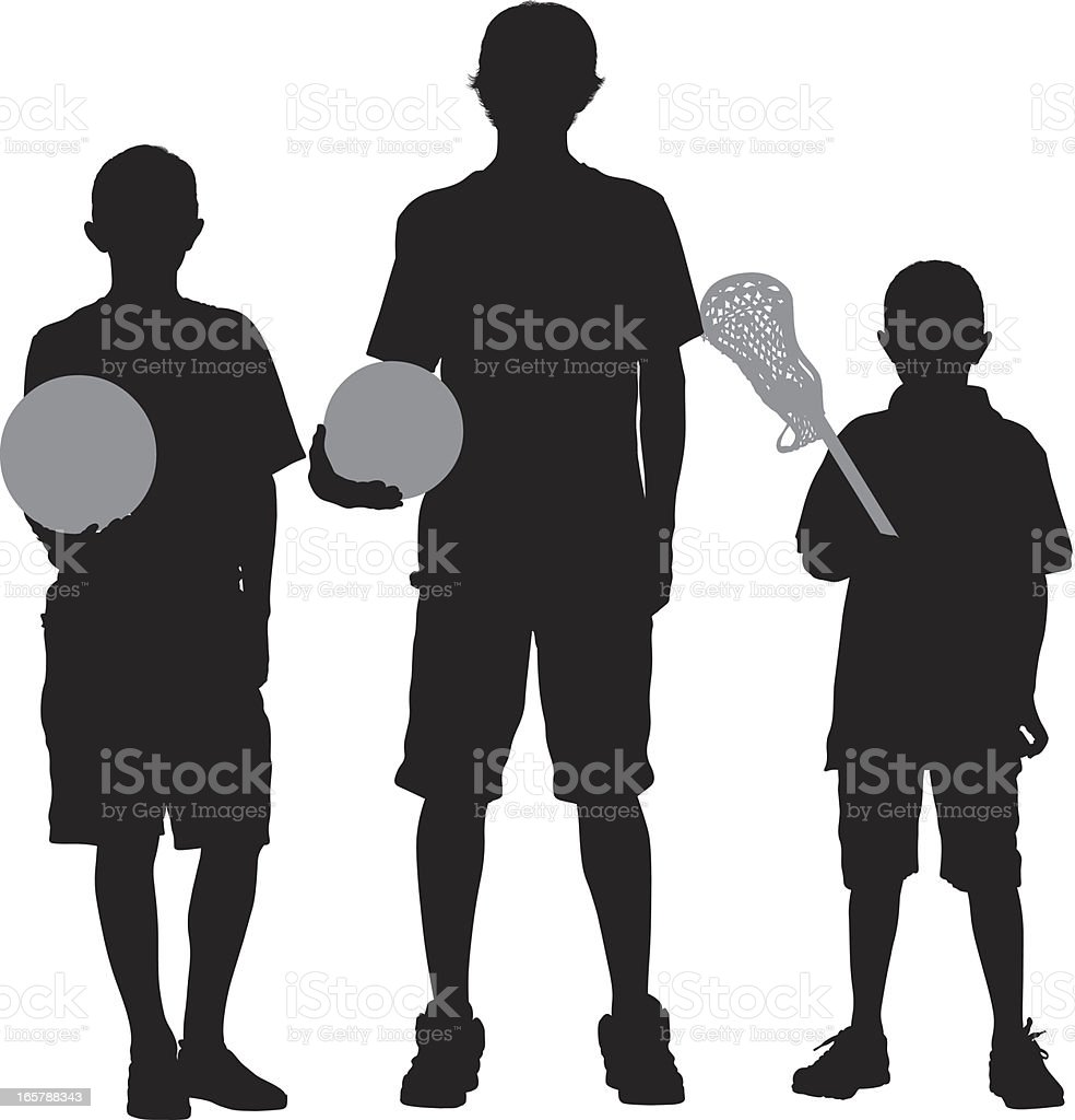 Silhouette of three boys with sports equipments royalty-free stock vector art