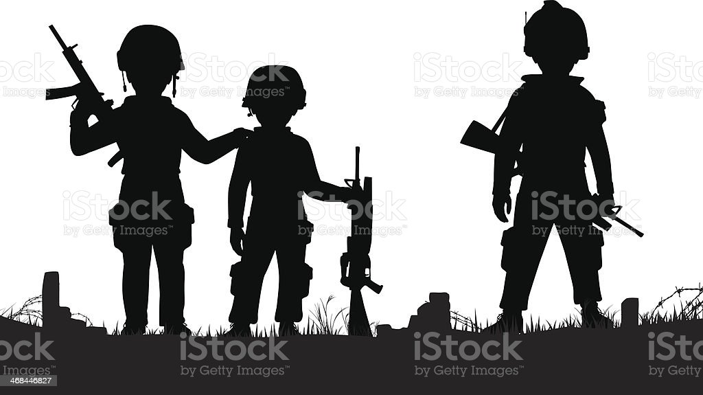 A silhouette of three child soldiers vector art illustration