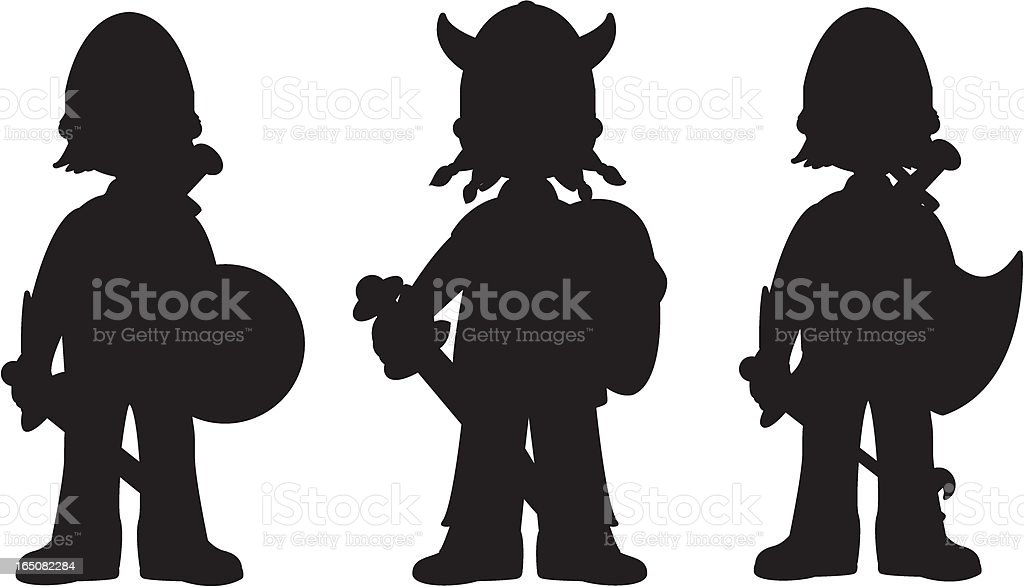 Silhouette of Three Knights royalty-free stock vector art
