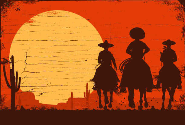 silhouette of three mexican cowboys riding horses on a wooden board - desert stock illustrations