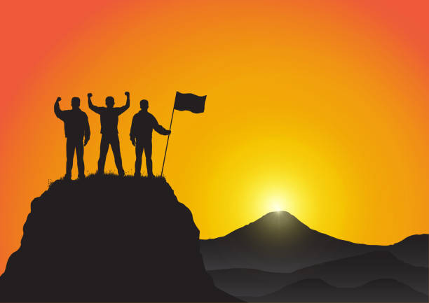 Silhouette of three young men standing on top of the mountain with fists raised up and holding flag on golden sunrise background, success, achievement,victory and winning concept vector illustration Silhouette of three young men standing on top of the mountain with fists raised up and holding flag on golden sunrise background, success, achievement,victory and winning concept vector illustration adventure silhouettes stock illustrations