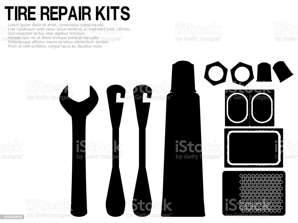 silhouette of Tire repair kits on transparent background vector art illustration