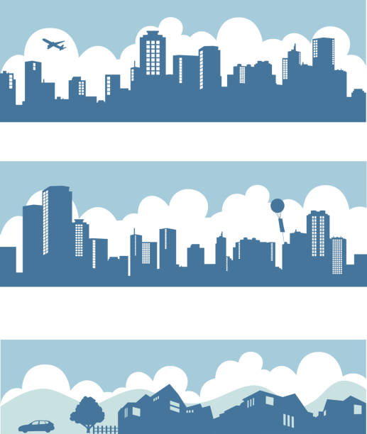 silhouette of town and city downtown, downtown, city, illustration town stock illustrations