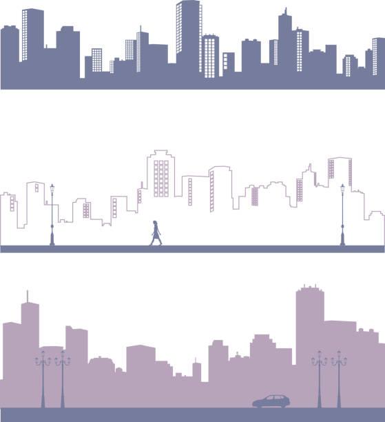 町や都市のシルエット - 町点のイラスト素材/クリップアート素材/マンガ素材/アイコン素材