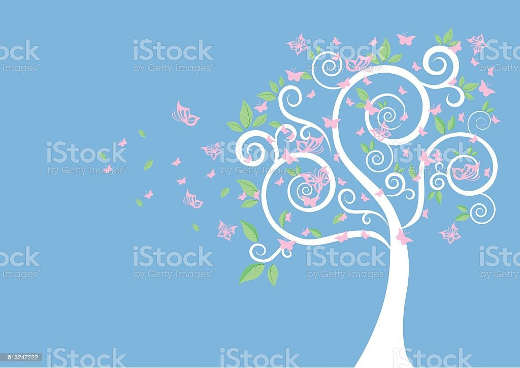 Silhouette Of Tree And Butterflies Vector For Your Design vector art illustration