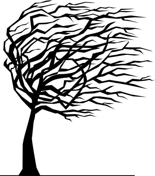 Silhouette of tree bent by the wind Silhouette of tree bent by the wind, vector illustration bending stock illustrations