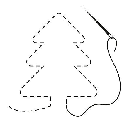 Silhouette of tree with interrupted contour. Vector illustration of handmade work with embroidery thread and needle