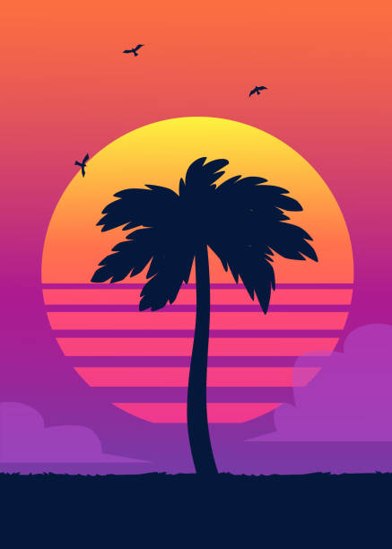 Silhouette of tropical palm tree on the background of a gradient sunset. Silhouette of tropical palm tree on the background of a gradient sunset. Vintage summer poster. Tropical summer vector illustration. big island hawaii islands stock illustrations