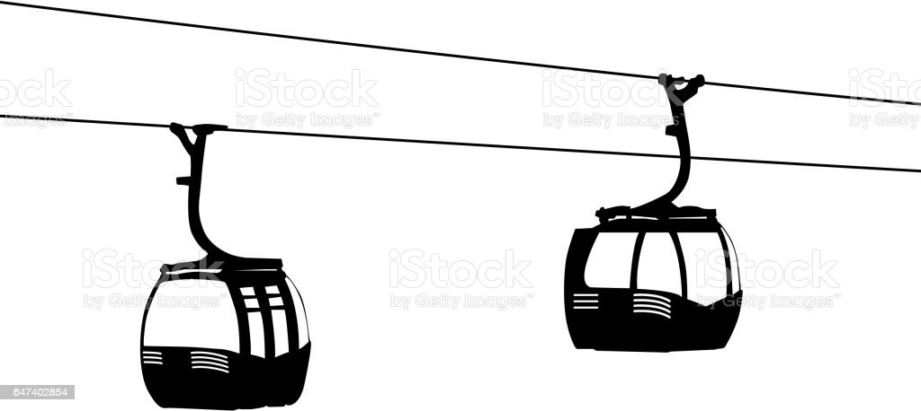 Silhouette of two air cable cabins vector illustration vector art illustration