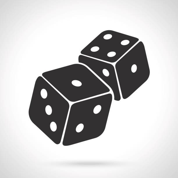 silhouette of two dice - dice stock illustrations, clip art, cartoons, & icons