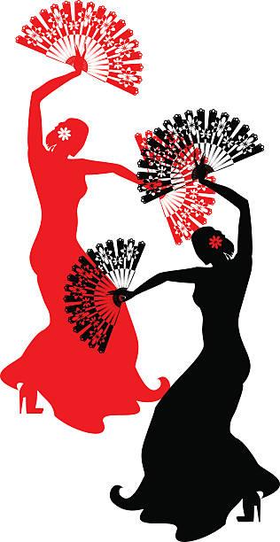 silhouette von zwei flamenco-tänzern - zigeunerleben stock-grafiken, -clipart, -cartoons und -symbole