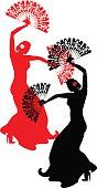 Silhouette of two flamenco dancers