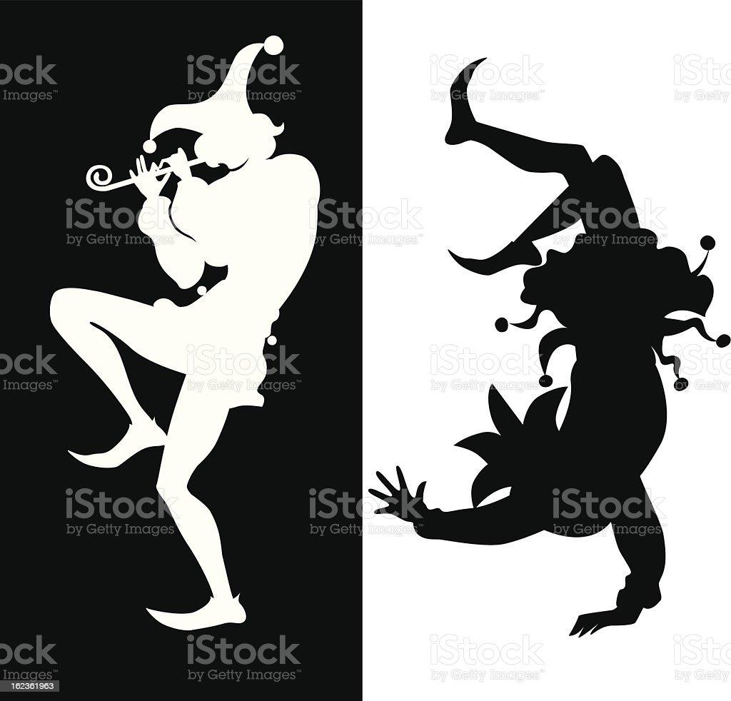 silhouette de deux bouffon - Illustration vectorielle