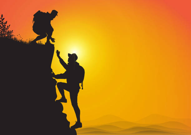 Silhouette of two people hiking climbing mountain and helping each other on golden sunrise background, helping hand and assistance concept vector illustration Silhouette of two people hiking climbing mountain and helping each other on golden sunrise background, helping hand and assistance concept vector illustration cliff stock illustrations