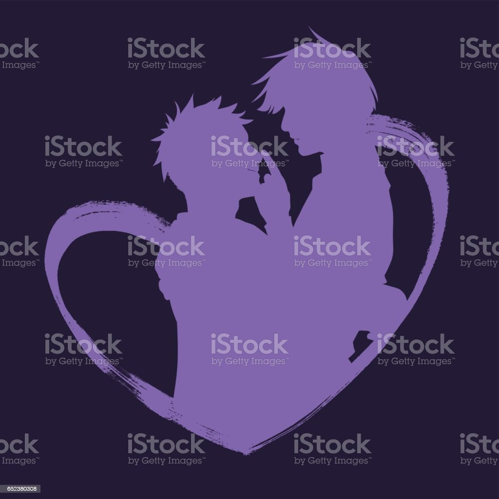 Silhouette of two people hugging inside the heart. vector art illustration