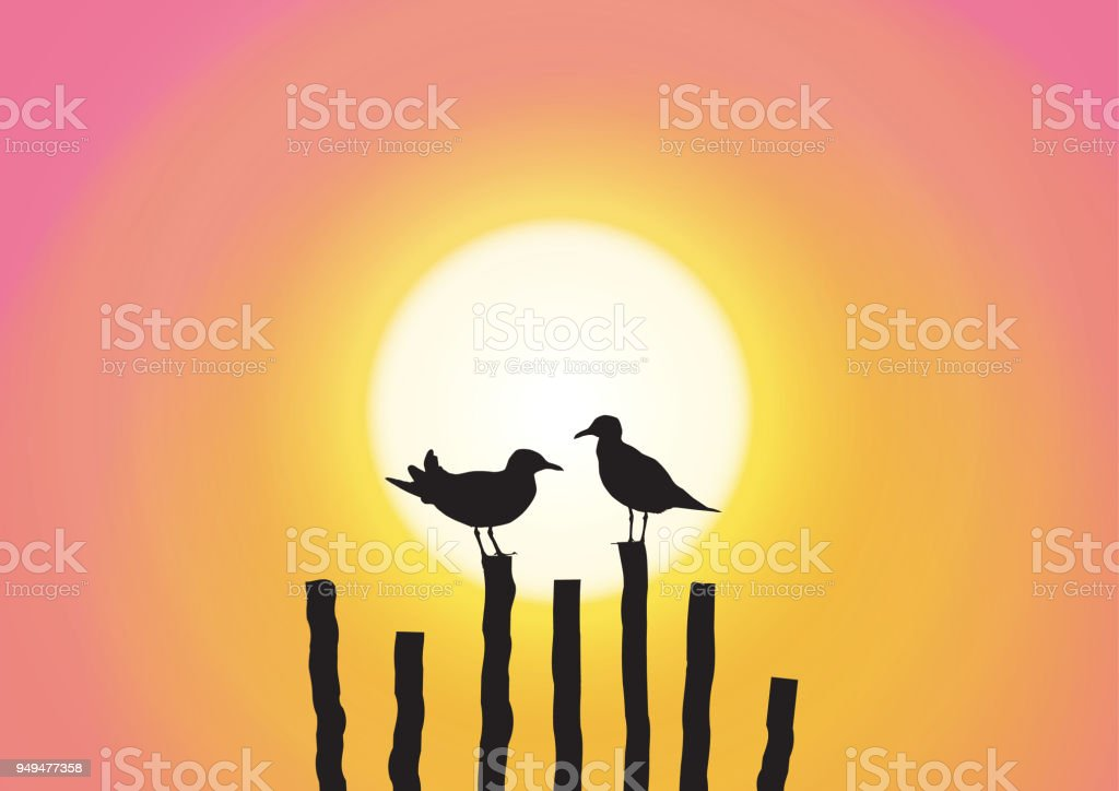 Silhouette of two seagull sitting on timber on sweet sunset background vector illustration vector art illustration