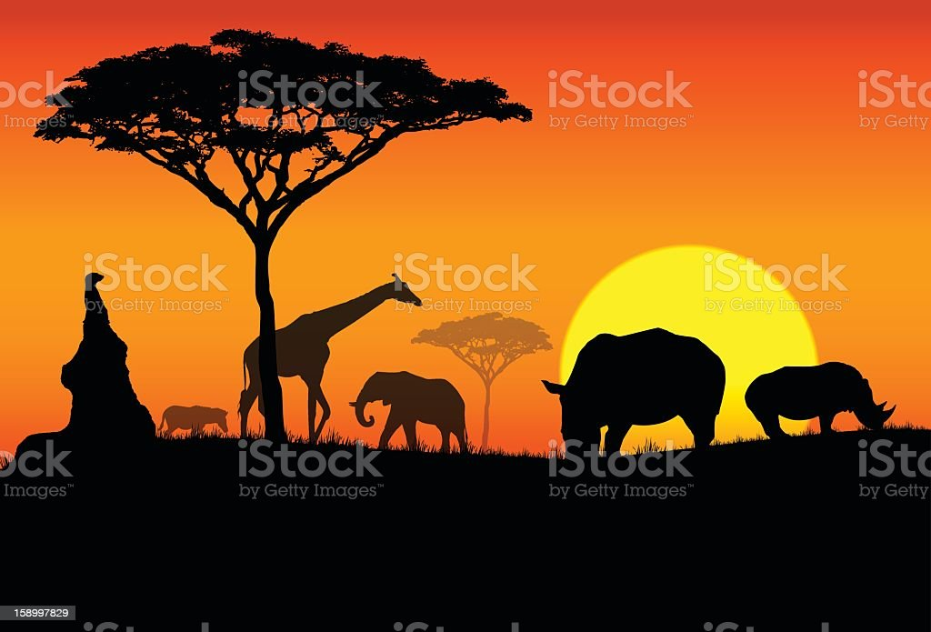 Silhouette of various animals in an African Safari vector art illustration