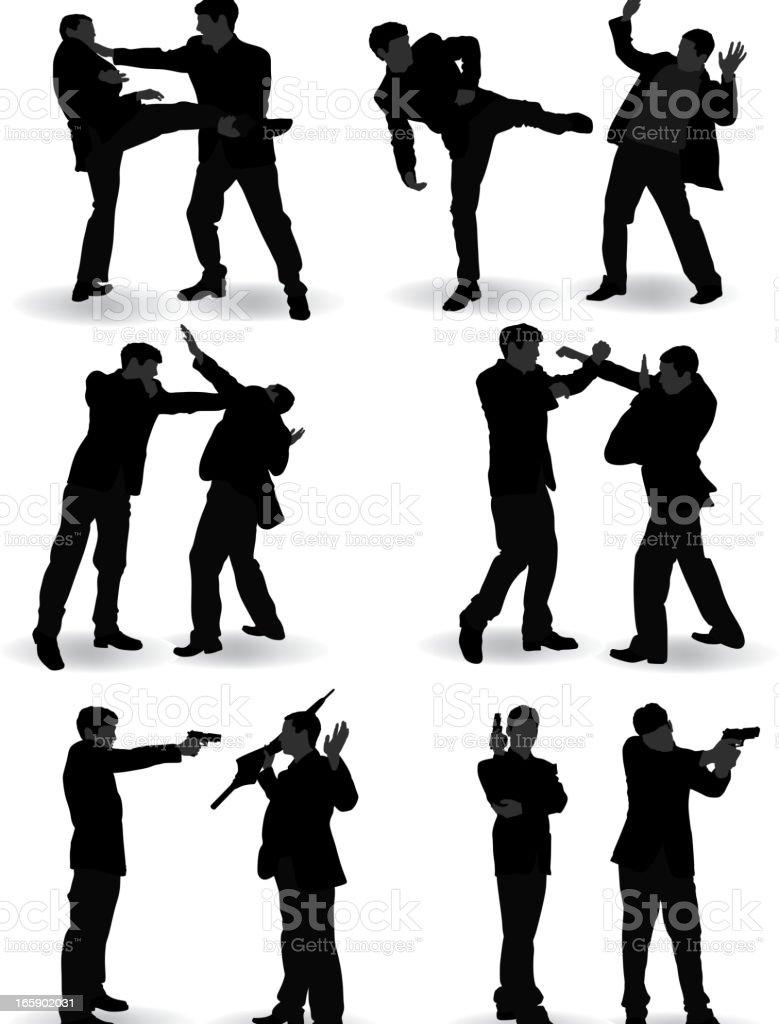 Silhouette of various fighting skills between two people vector art illustration