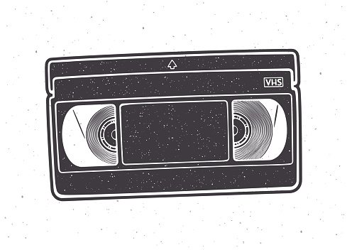Silhouette of VHS cassette. Vector illustration. Video tape record system. Retro storage of analog information.