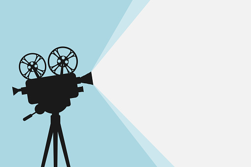 Silhouette of vintage cinema projector on a tripod. Cinema background. Film festival template for banner, flyer, poster or tickets. Old movie projector with place for your text. Movie time concept