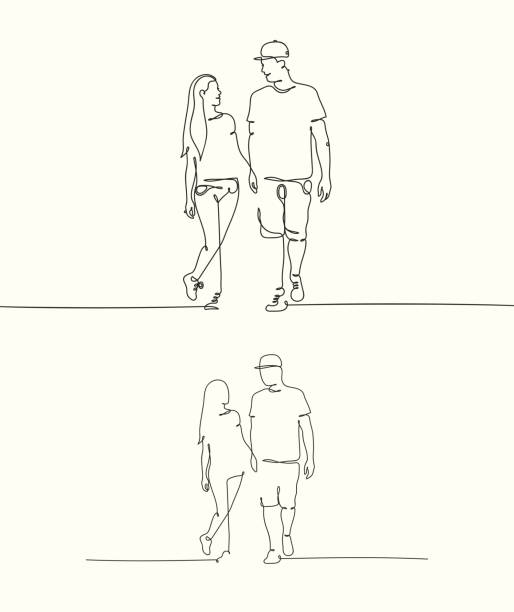Silhouette of walking lovers Continuous line drawing of couple holding hands. Set of linear vector illustrations for graphic design, prints, t-shirts young couple stock illustrations