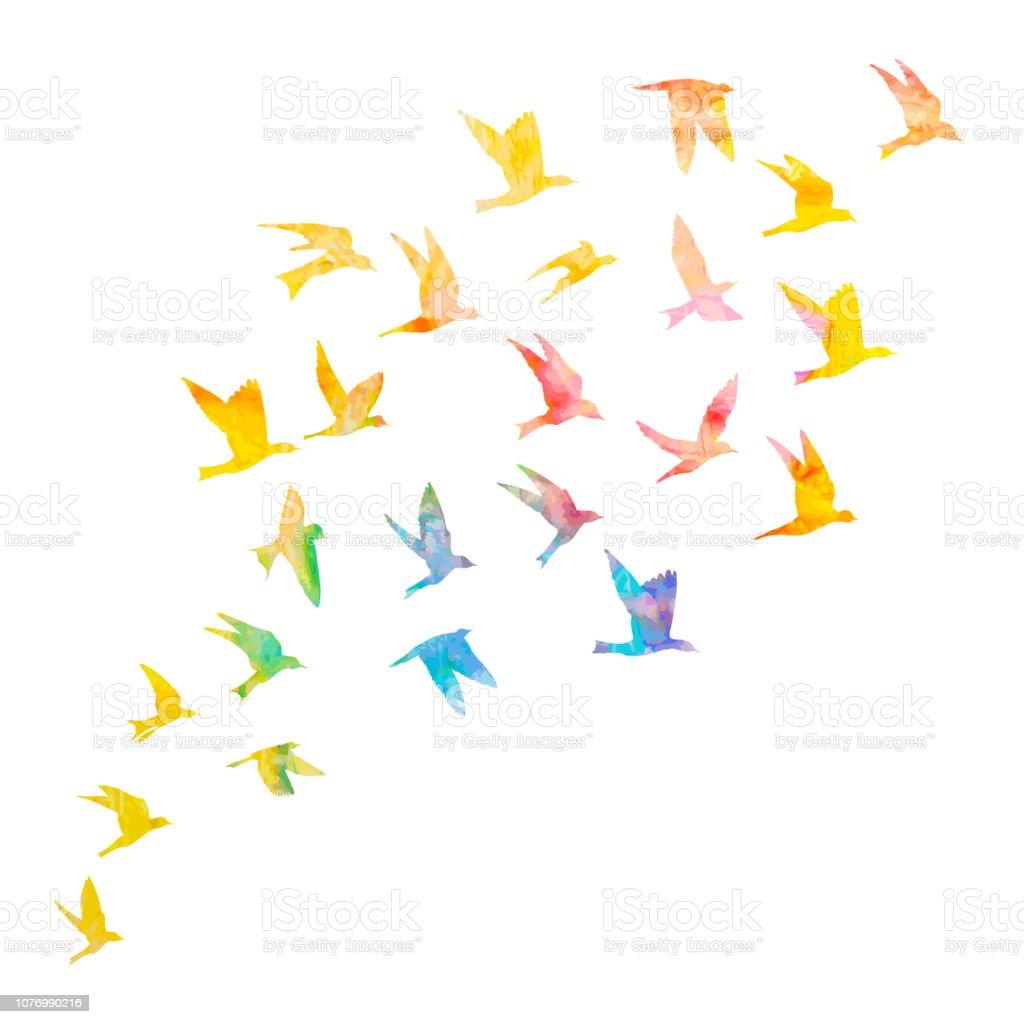 Silhouette d'aquarelle oiseaux de vol sur fond blanc. Inspiration peinture aquarelle corps mode flash autocollant temporaire modèle tatouage art. Vector. - clipart vectoriel de A la mode libre de droits