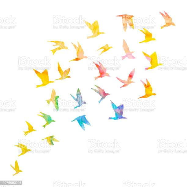 Silhouette of watercolour flying birds on white background paint vector id1076990216?b=1&k=6&m=1076990216&s=612x612&h=avo5rpxfq4qabjr4 hov4zs5ortlzqbiu yilcd04la=