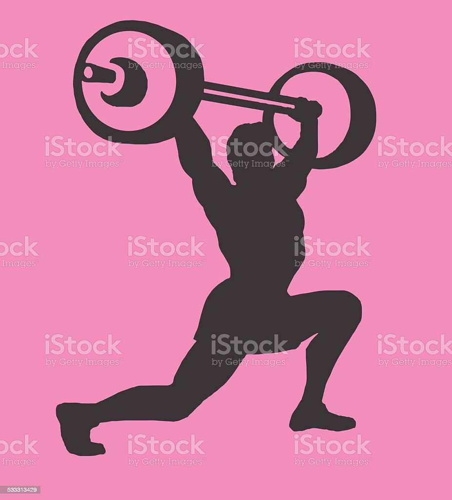 Silhouette of Weightlifter vector art illustration
