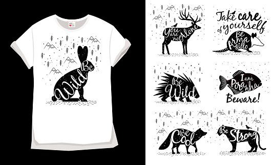 Silhouette of wild Animals for clothing design