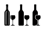 Vector icon of bottle of wine and glass of dark color with highlights on white background.