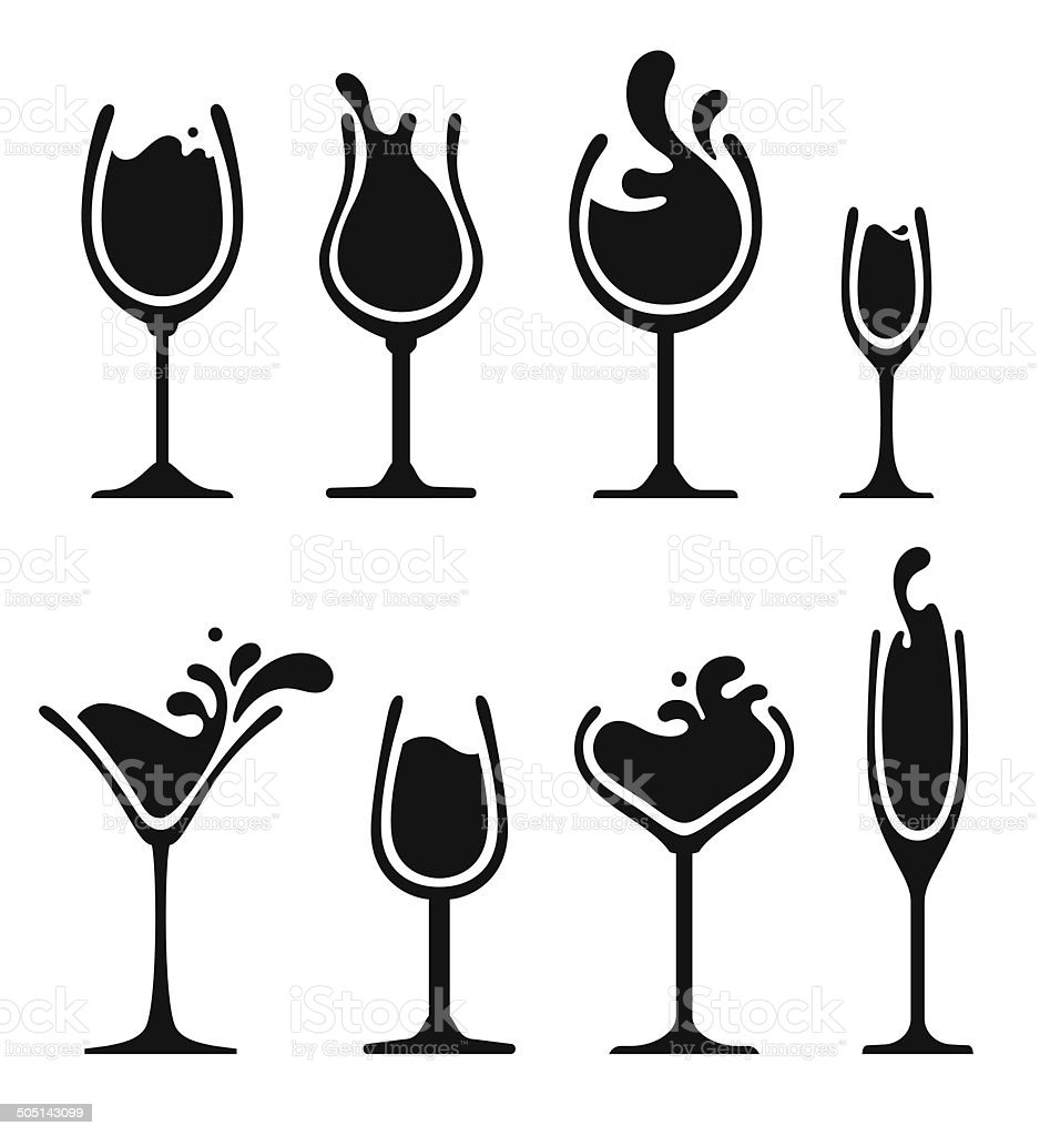 silhouette of wine glass with splash vector art illustration