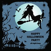 Silhouette of witch sitting on the broom