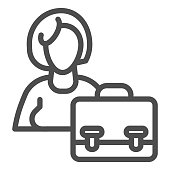 Silhouette of woman and briefcase line icon. Female candidate portfolio outline style pictogram on white background. Hiring a woman for mobile concept and web design. Vector graphics