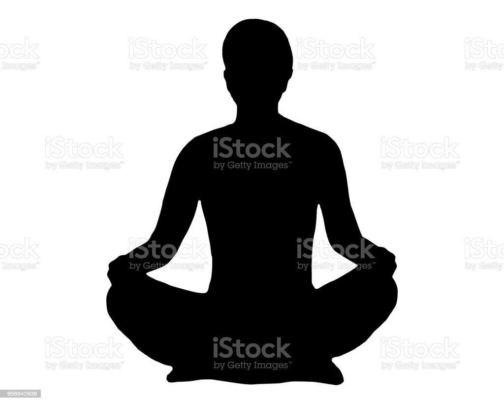 Silhouette of woman doing yoga vector art illustration