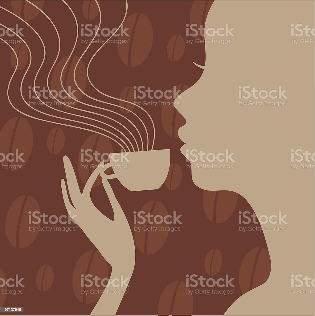 Silhouette of woman drinking coffee royalty-free stock vector art