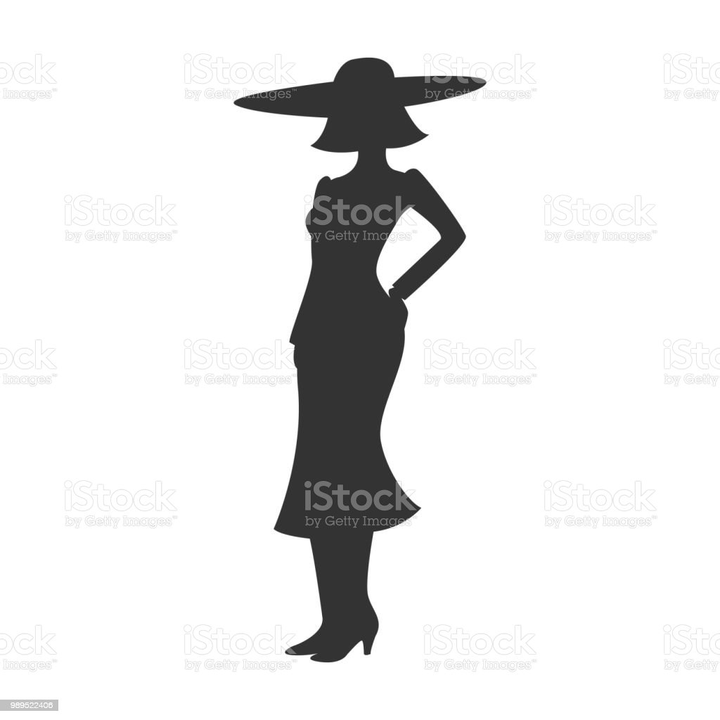 Silhouette Of Woman In Hat Skirt And Heels Lady Icon Vector Illustration Royalty