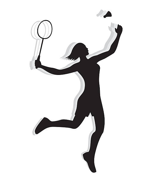 Silhouette of woman playing badminton ベクターアートイラスト