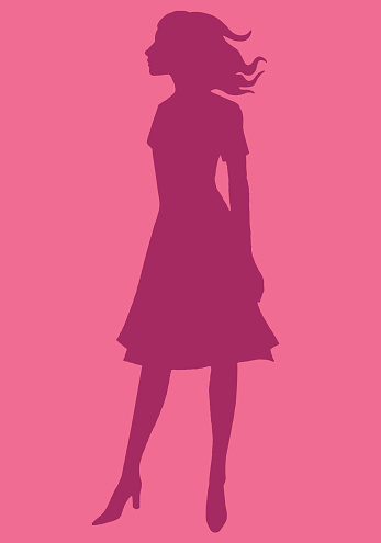 Silhouette of Woman Standing in Wind