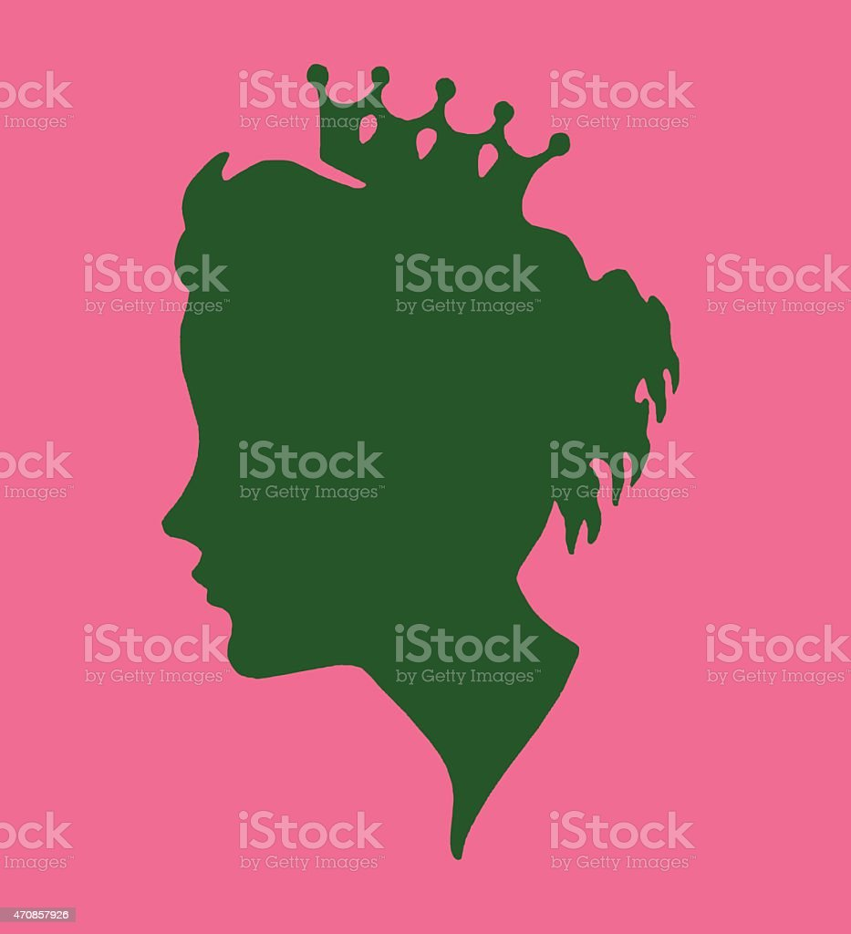 Silhouette of Woman Wearing a Crown vector art illustration