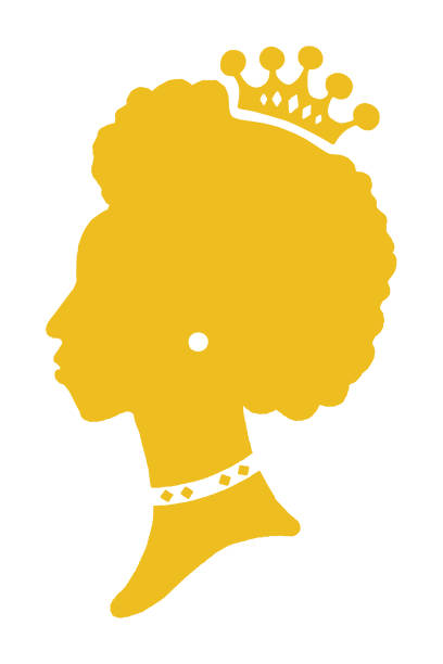 Silhouette of Woman Wearing Crown vector art illustration